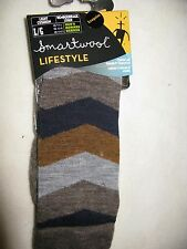 Smartwool men's casual socks chevron stripe merino wool Large LG L navy crew !