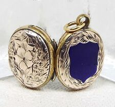 Antique Victorian 9ct Gold Miniature Blue Enamel Shield Photo Locket Necklace