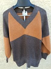 La Squadra mens Brown V- neck sweater 60% lambswool 20% angora made in Scotland