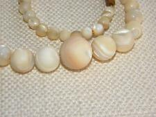 vintage Mother of Pearl MOP beads necklace ROUND graduated ~ lovely colour ~
