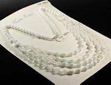 """Vtg 22"""" Czech 4 strand necklace white frost crystal round cone disc glass beads"""