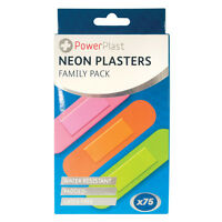 75 Neon Waterproof Plasters Padded First Aid Latex Free Sterile Band Aid NEW DW
