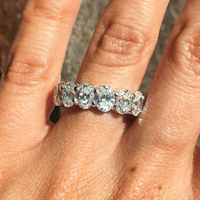 7.30CT 18K White Gold Oval Diamond Eternity Ring 1/2 Carat Each GGA Certified