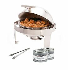 PrestoWare Round Roll-Top Chafer with Stand, Stainless Steel Chafing Dish Set