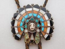 Vintage Pawn Zuni John Lucio Turquoise Indian Headdress Sterling Silver Bolo Tie