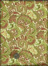 Feathery Paisley Floral Print green rose yellow on cream Fabric by David Textile
