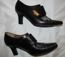 SALVATORE FERRAGAMO polished leather cross strap ankle boots booties 5.5 B