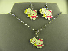 WHIMSICAL & SWEET HELLO KITTY & SISTER MIMMY METAL CHARM NECKLACE & EARRING SET