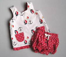 Hanna Andersson Girls 60 3 6 Mo Smooth Sailing Bloomer Set EUC Red Sailboats