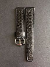 20mm Black leather Perforated Racing Rally Watch Strap For Omega Speedmaster