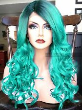 USA // Light Green Blue LACE FRONT & Skin Top HEAT OK Dark Root Ombre Teal Wig