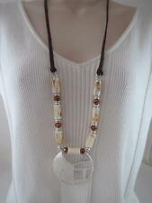 Kenneth Cole brown leather cord~beaded silver tone cutout pendant necklace, NWT