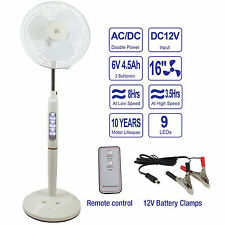 16 Inch White Rechargeable Battery Oscillating Pedestal Adjustable Fan W/ Remote