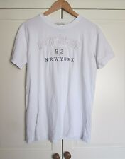 mens ABERCROMBIE & FITCH WHITE COTTON CREW NECKT SHIRT SIZE SMALL