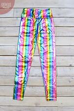 High Waisted Metallic Sheer Rainbow Festival Leggings