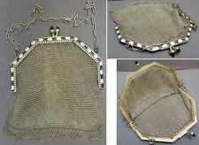 Sac  bourse en cote de maille ARGENT massif émail silver bag ART DECO vers 1920