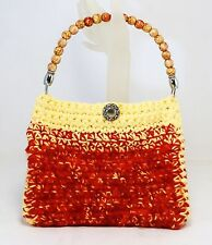 FUZZY PURSE RED YELLOW FLUFFY HANDBAG LINED BAG W/WOODEN DECORATED BEAD HANDLE