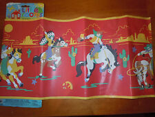 Wallpaper Border Cowboys Indians Old West Baby Nursery Decor Daycare Red NEW