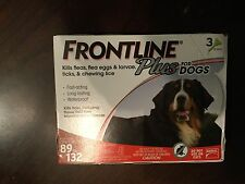 FRONTLINE PLUS FOR XL DOGS 89-132 LBS FLEA AND TICK CONTROL 3 PACK NEW
