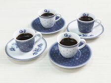 Set of 4 KATIE ALICE Vintage Indigo PORCELAIN ESPRESSO CUP and SAUCER