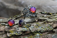 Mexican Fire Opal Ring and Earrings Victorian Mexican Dragon's Breath Sale