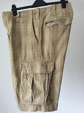 """H&M ~ thick heavy cotton loose fit cargo shorts Prince of Wales check ~34""""WX13""""L"""