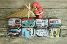 8pcs Mini Empty Tinplate Tin Metal Container Small Storage Box Car Style