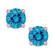 1 Ct Round Blue Earrings Studs Solid 14K Rose Pink Gold Screw Back Basket