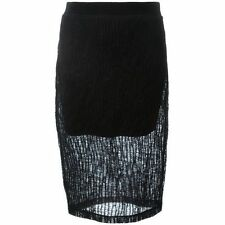 NEW T by Alexander Wang Crinkled Black wool  Knee length Skirt, size XS