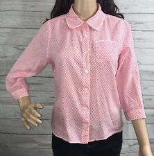 Isaac Mizrahi Blouse Pink and White Polka Dot Casual Button Down Shirt - Medium