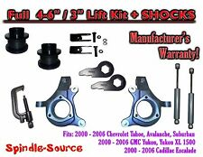 "2000 - 2006 Chevy GMC 1500 4-6"" / 3"" Lift Kit Spindles Spacer TOOL EXT + SHOCKS"