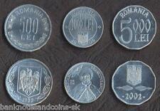 ROMANIA COMPLETE FULL ALUMINIUM COIN SET 50+1000+5000 Lei 2000-2004 UNC LOT of 3