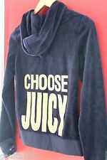 NWT Juicy Couture Regal Blue Velour Choose Juicy Sexy Gold Hoodie Jacket S $128