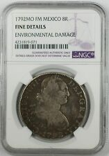 1792-MO FM Mexico 8 Reales Silver Coin NGC Fine Details Environmental Damage
