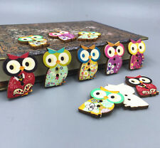 20pcs Wooden Buttons 2-hole Owl shape Sewing Craft scrapbooking decoration 29mm