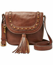 NWT $178 Fossil Emi Tassel Saddle Bag, Medium Brown ZB6850210