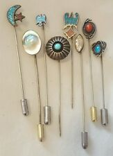 Vintage Native American LOT STERLING SILVER TURQUOISE Coral Stick Hat Dress Pins