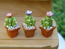 Miniature Dollhouse FAIRY GARDEN Accessories ~ Set of 3 Plants Pots w Cactus