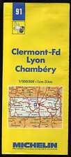 carte MICHELIN  no 91  CLERMONT FD- LYON  CHAMBERY   1986-1987  13 éditions