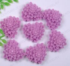 PN1070 30Pcs purple heart Resin Flower Flatback Cabochons 13MM