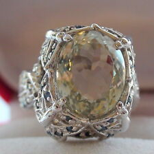 Natural Green Amethyst, Blue Sapphire 925 Silver Ring, Estate Jewelry.Size 7,75