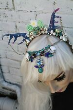 BLUE FAIRY FAWN SHELL BEADED HORNED FLOWER CROWN FEATHER MERMAID HEAD BAND