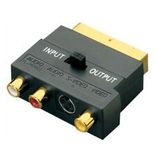 New SCART Adaptor AV Block To 3 Phono Composite or S-Video With In/Out Switch UK