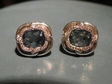 David Yurman  SS  10MM Blue Topaz  & Diamonds Labyrinth Earrings