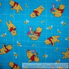 BonEful Fabric FQ Flannel Cotton DISNEY Winnie the Pooh Piglet Red Honey Pot Bee