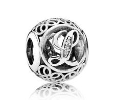 New Authentic Pandora Charm 791856CZ Vintage Letter L Clear CZ Box Included