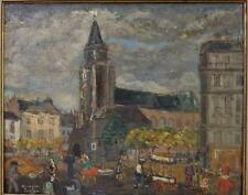 "Armando Laclau ""La Place St. Germain"" Oil on Wood Painting, Early 1900's"