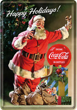 Retro Tin Metal Postcard 'COCA-COLA - HAPPY HOLIDAYS' Mini Sign 10 x 14cm Santa