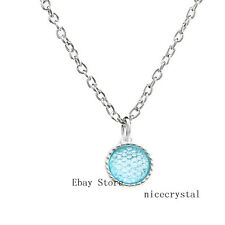 1p Blue Birthstone Hang Pendant Dangle Charms Necklaces Chain Jewelry Gift