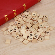 100 PCs Wooden Alphabet Scrabble Tiles Black Letters Crafts Wood *